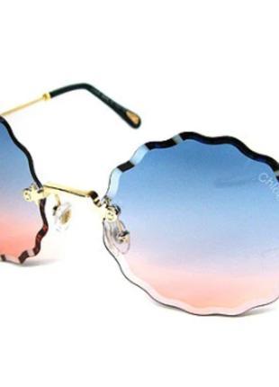 Очки солнцезащитные женские розово-голубые Chloe 5508 сн4