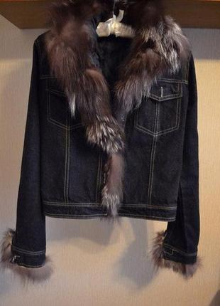 ⛔✅пиджак куртка джинс натуральный мех чернобурка