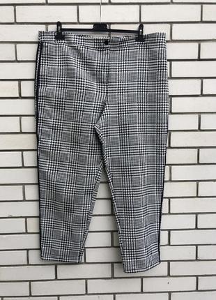 Серые брюки,штаны в клетку,хлопок,,принт «гусиные лапки»tu