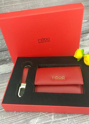 Женский подарочный набор nobo nset-w01-c005 красный (кошелек и...