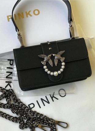 Женская сумка pinko пинко мини  кожа черная
