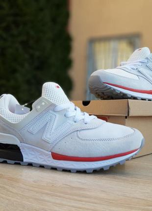 New balance 574 белые с красным шикарные мужские кроссовки нью...
