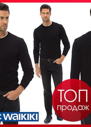 Черный мужской свитер lc waikiki / лс вайкики с круглым воротом