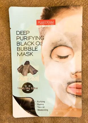 Purederm Deep Purifying Black O2 Bubble Mask тканевая маска