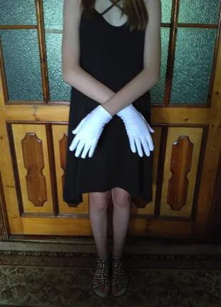 Перчатки детские атласные нарядные белые 10-13лет подростковые