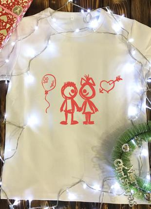 Мужская футболка с принтом - нарисованая пара