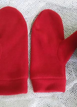 Варежки ярко красные флис