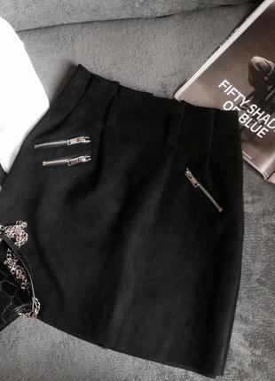 Крутая  юбочка  под замшу от zebra♥ юбка трапеция♥ юбка с замо...