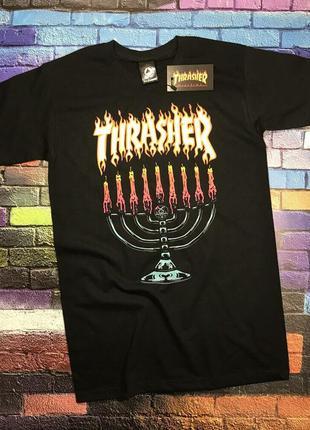 Футболка thrasher menorah• черная футболка трешер• топ качество
