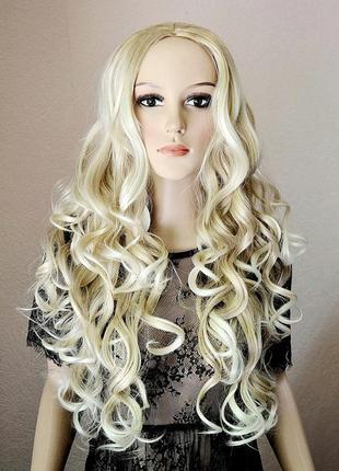 Парик с имитацией кожи длинный кучерявый блонд