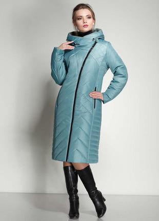 Модное женское зимнее пальто из плащевой ткани прямого и полуп...