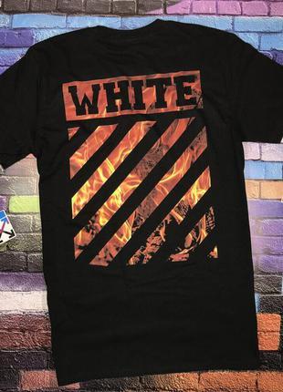 Мега футболка off white fire black• черная футболка офф вайт •...