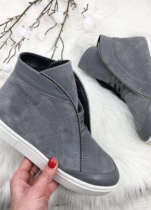 Sale! зимние кожаные замшевые ботинки хайтопы 37 38