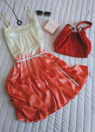 Guess  шёлковое платье, сарафан (100% шелк) омбре