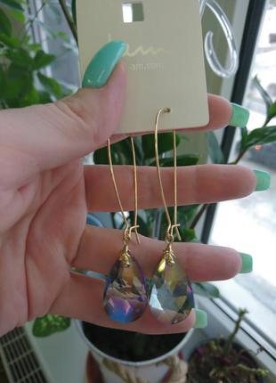 Сережки серьги камни стразы драгоценные золото украшение asos ...