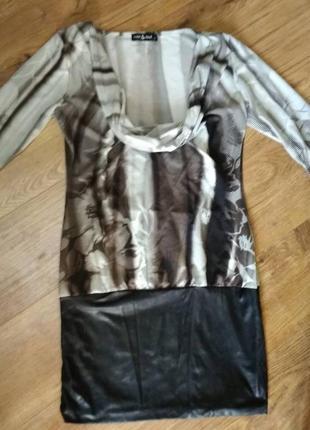 Милое платье с кожаными вставками, размер xs/s, одевалось 1 раз