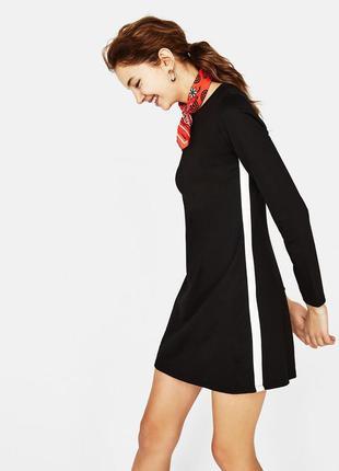 Черное повседневное трикотажное платье трапеция с лампасами be...