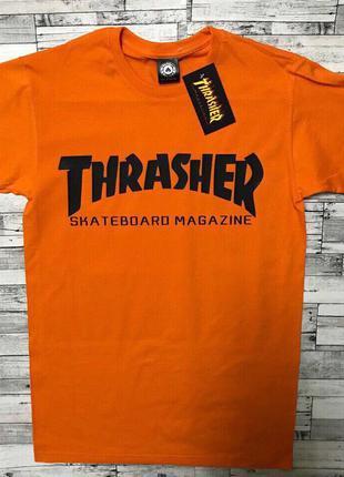 Thrasher футболка оранжевая•футболка трешер• ориг бирки