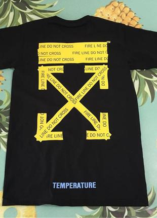 Футболка off-white temperature black • футболка черная офф вай...