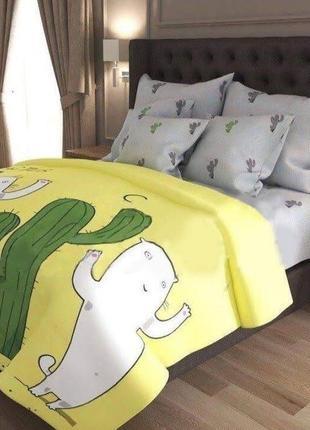 Полуторный постельный набор кот и кактус, в наличии
