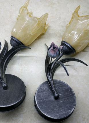 Кованые бра тюльпаны черные 2щт.