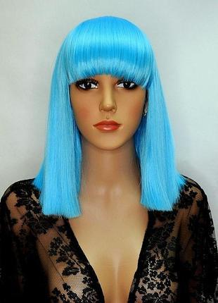Цветной парик голубой
