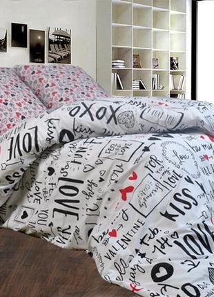 Красивое постельное белье валентинка, хлопок, качество