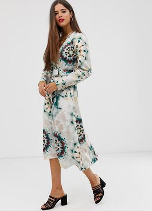 Платье-рубашка миди на пуговицах в принт asos, платье пиджак с...