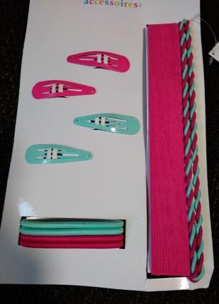 Набор заколки, резинки, повязка для девочки, новый
