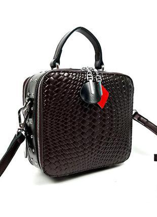 Женская квадратная сумка, из натуральной кожи с заклепками кор...