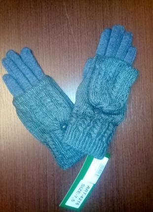 Теплые перчатки issa,варежки с откидной частью