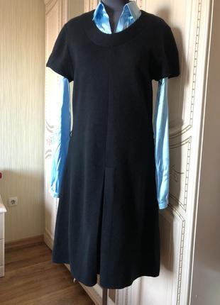 Стильное теплое платье сарафан, натуральная шерсть,