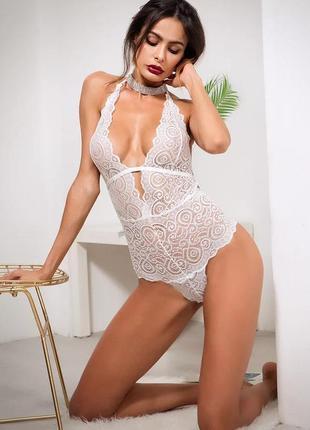 Роскошное кружеаное боди, белоснежное белье, белое эротичное боди