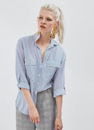 Стильная.натуральная блуза,рубашка в полоску!