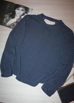 Стильная и красивая блузка в горошек синего цвета,тренд 2020.