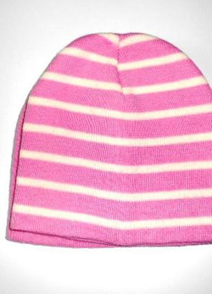 Шапка розовая в полоску для девочки