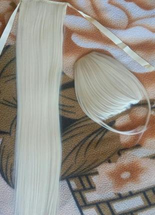 Шиньон на ленте блонд белый