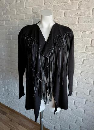 Zara стильный кардиган  с бахромой свитер джемпер кофта