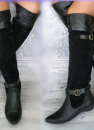38р замша кожа  ботфорты замшевые высокие сапоги