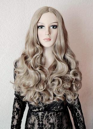Парик с имитацией кожи без челки пепельный блондин длинный