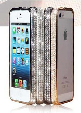 Бампер металлический стразы камни Swarovski iPhone 5 5s SE