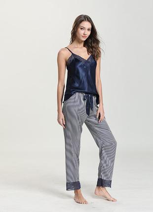 Пижама женская шелковая. комплект атласный из майки и штанов д...