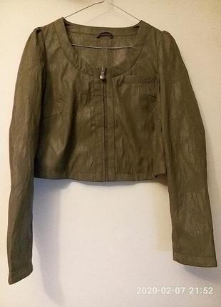 Укороченный кроп жакет куртка хаки милитари