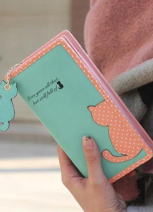 Женский кошелек с кошечкой зеленый с розовым