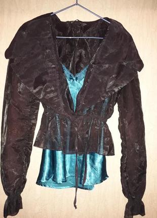 Блузка-пиджак на запах с поясом. цвет чернильный