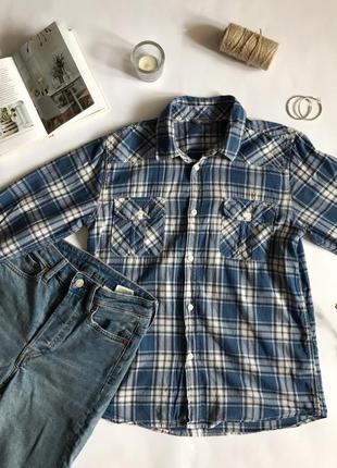 Рубашка в клетку синяя