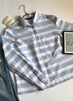 Рубашка белая в голубую полоску marks&spencer