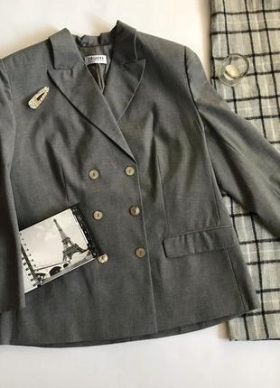 Двубортный серый шерстяной жакет/пиджак olsen