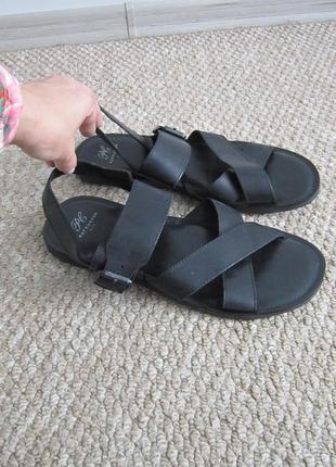 Кожаные черные босоножки/сандалии мужские