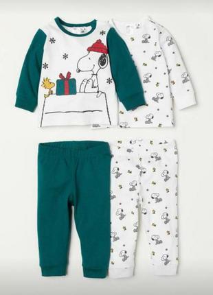Комплект пижама для малыша h&m для новорожденного 0-1 мес штан...